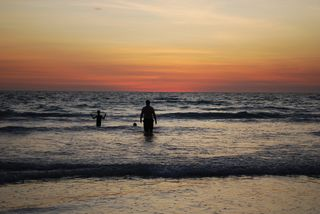 Mike and Boys Sunset Swimming Cable Beach Friday